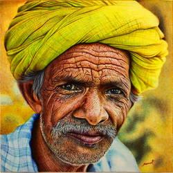 Elderly Man - A Ballpoint Pen Study by VianaArts