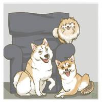Doggy trinity by luyidraws