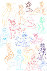 Just A big 'ol page of new and old charas by Layneon