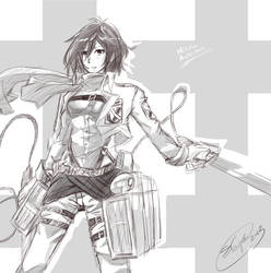 Mikasa Ackerman Sketch by roleplay14