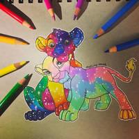 Rainbow Nala and Simba by Doodling-Sarah