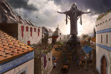 Numenera: city with statue by Erebus-art
