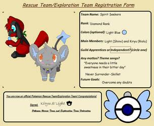 Team Spirit Seekers Registration Form by Chocobomage15