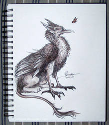 Inktober Day 13: Curious Griffon by aviagua