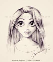 Rapunzel Portrait BnW by MoonchildinTheSky