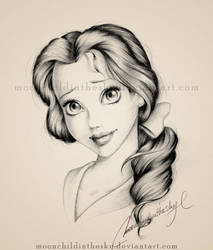 Belle Portrait BnW by MoonchildinTheSky
