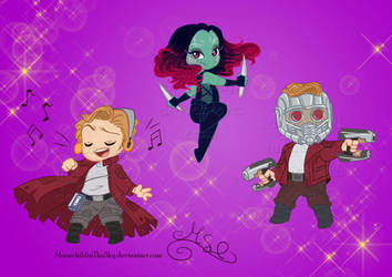 Star lord and Gamora set by MoonchildinTheSky