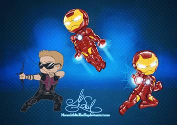 Chibi Avengers Set 3 by MoonchildinTheSky