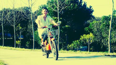 riding bike by c0tu
