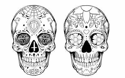 Sugar skull tattoo design by alxpalm