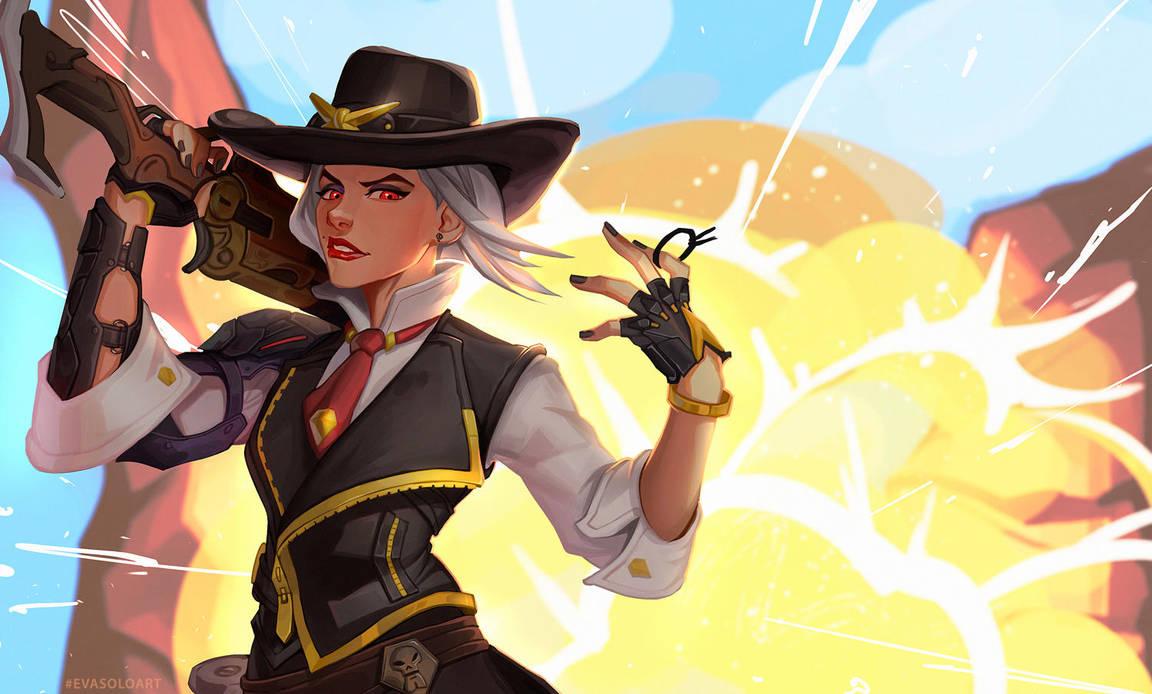 Ashe Overwatch fanart by EvaS0L0