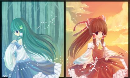 Reimu and Kochiya by Effier-sxy