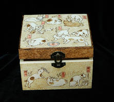 Cute Kuniyoshi Cats pyrography wooden jewelry box by YANKA-arts-n-crafts
