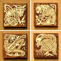 Four Evangelists unique fridge Celtic magnets set by YANKA-arts-n-crafts