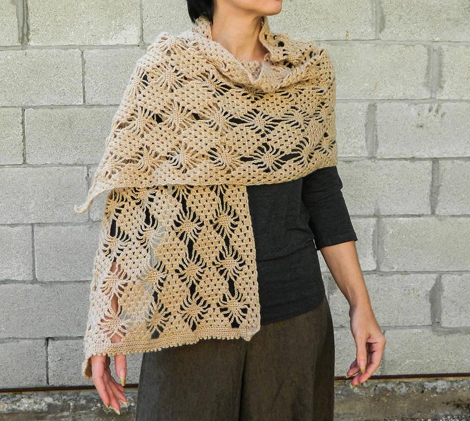 Handmade Light Beige Lace Crochet Shawl Long Scarf By Yanka Arts N