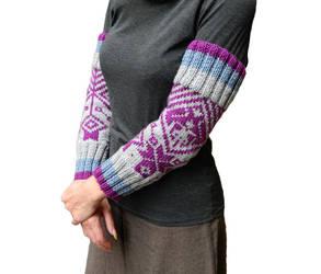 Hand knit arm warmers scandinavian knitting grey by YANKA-arts-n-crafts