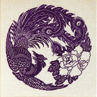 Completed cross stitch monochrome Chinese Phoenix by YANKA-arts-n-crafts