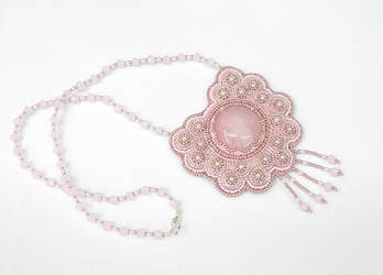 Girly Moon bead embroidered rose quartz necklace by YANKA-arts-n-crafts