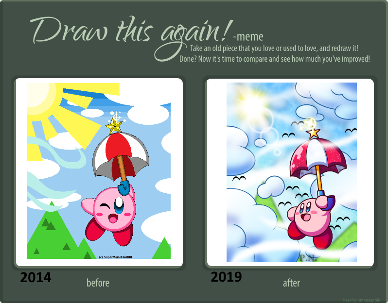 Draw this Again!! -Parasol Kirby- by Plucky-Nova