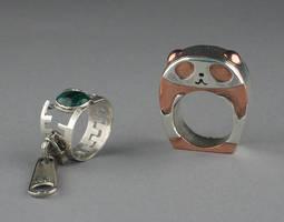 Panda and zipper rings by keikoface