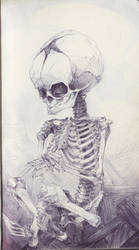 Cross Legged Fetal Skull by SketchbookNoir