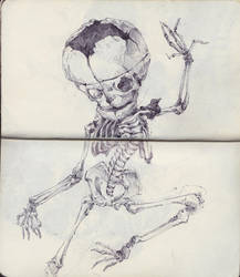 Dancing Fetal Skeleton by SketchbookNoir