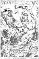 hulk vs wolverine by wgpencil