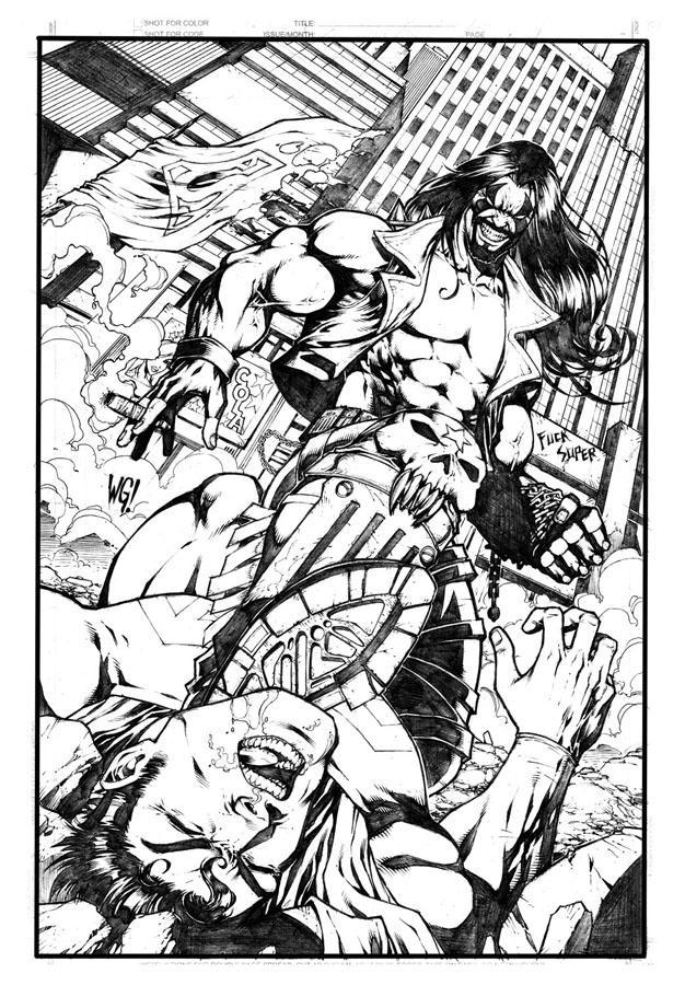 Lobo vs Superman by wgpencil