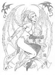 Daenerys Targaryen-dragons by wgpencil