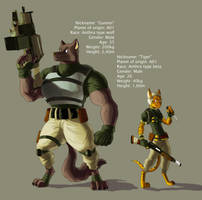 Cartoonized char 2 - Gunner and Tiger by davi-escorsin