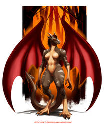 Warrior Dragoness by davi-escorsin