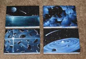 Mini Spacescapes - Blues by crazycolleeny