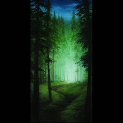 Tall Glowing Pines by crazycolleeny