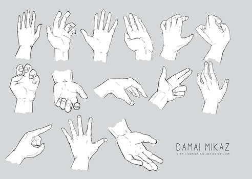 Sketchdump January 2016 [Hands] by DamaiMikaz
