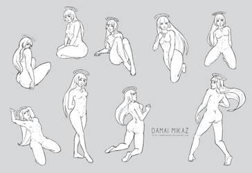Sketchdump February 2016 [Female poses] by DamaiMikaz
