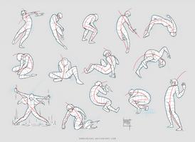 Sketchdump February 2017 [Dynamic poses] by DamaiMikaz