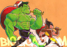 Hulk and Wolverine's Gift Giving by BiggCaZ