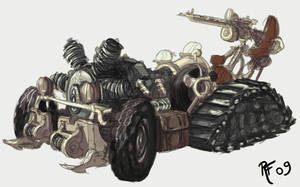 Steampunk car sketch by BluntieDK