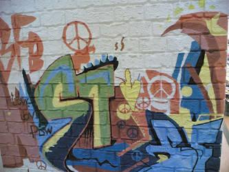 Graffiti Inside a Mall. by naphtholheat