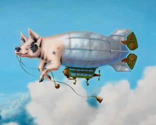 Pig Blimp - detail by LindaRHerzog