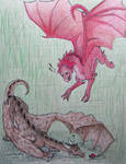 Noonia gets the drop on Dragon!Dean by Wolfie180g