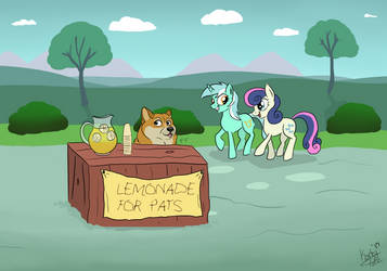 A Doge, in Equestria, running a lemonade stand by Faunafay