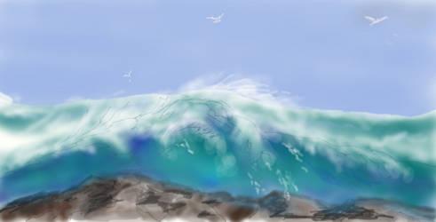 Big Surf at Muro Point by davincipoppalag