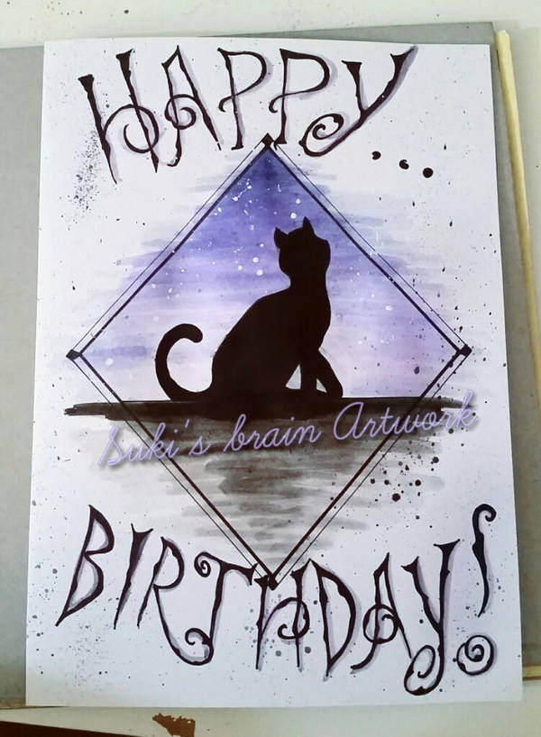 Birthday Card For Cat Lovers By Sukis Brain Artwork