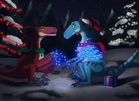 Lights! Gifts! Mistletoe? by MightyRaptor