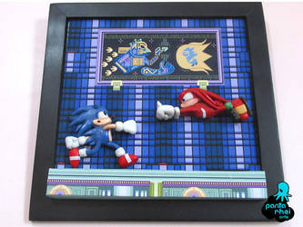 Sonic 3 and Knuckles handmade wall frame fan art by Diamond-ME