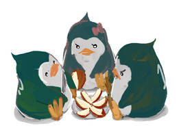 penguins and apples by deadums