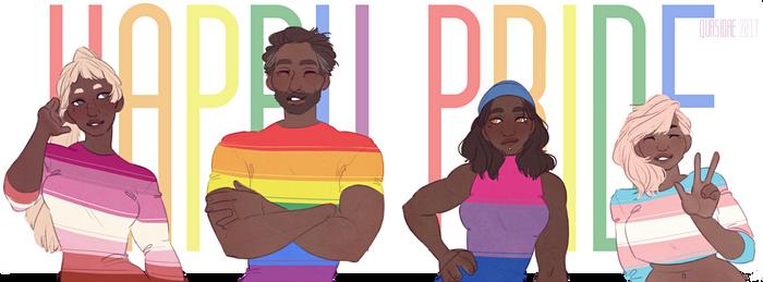 [OC AND Fanart] Happy LGBT pride ! by Qursidae