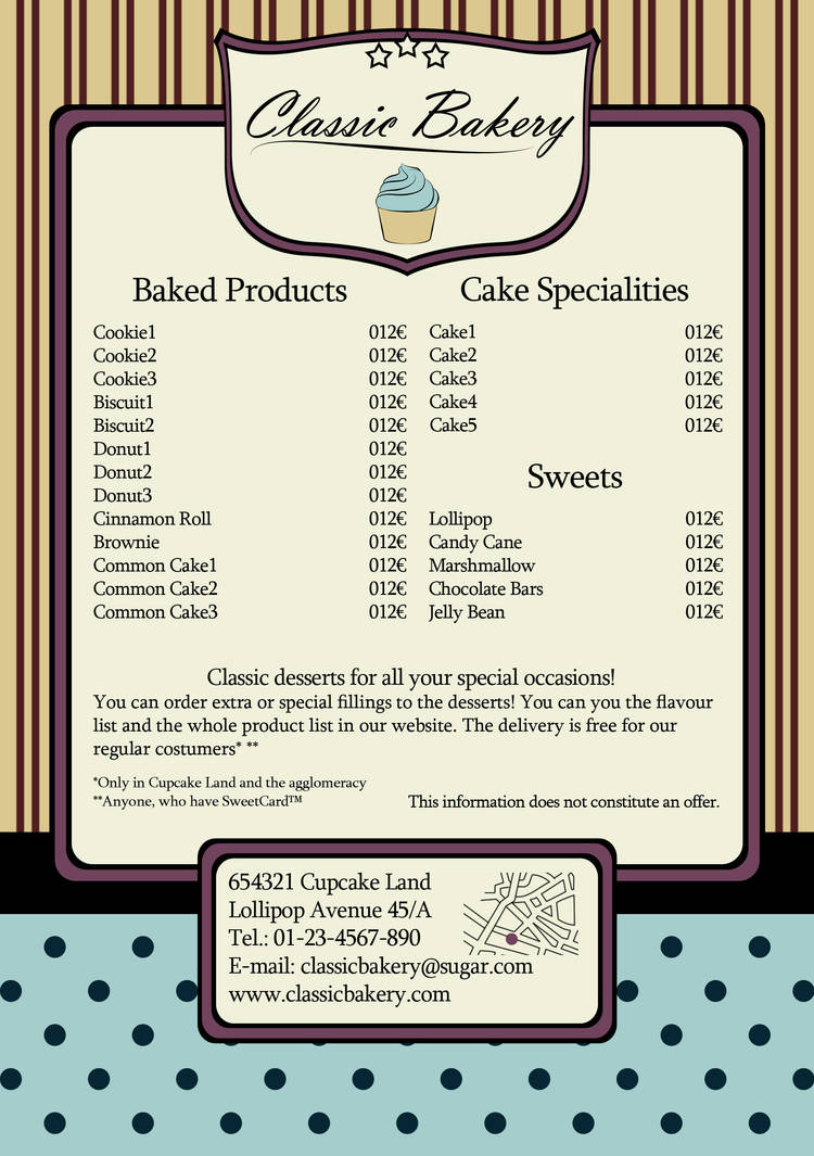 sweetie flyer sample for some imagined bakery by lilienb on deviantart