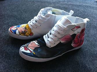 Jessman5 custom shoes. [Sailor Moon+Tuxedo Mask] by Jessman5